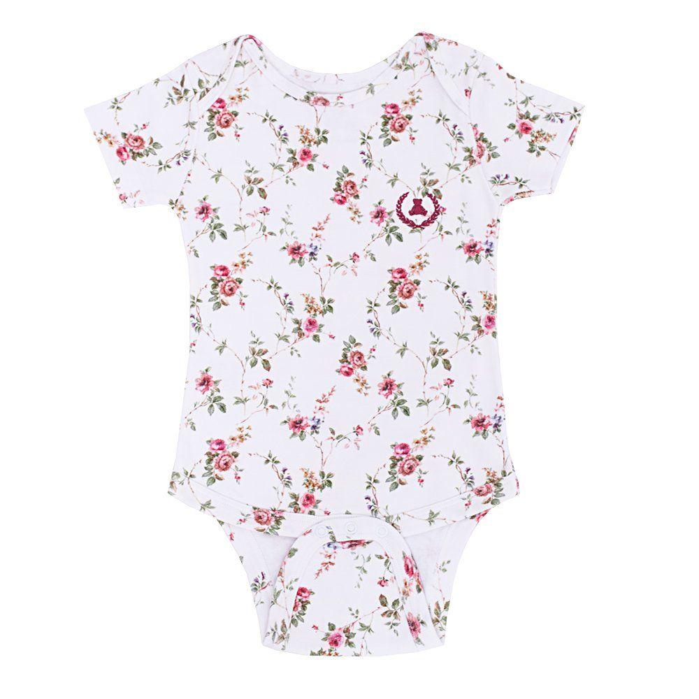 Body bebê manga curta floral - Branco