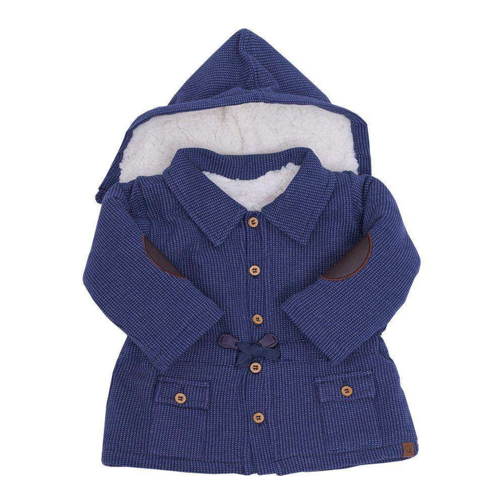 Casaco bebê com capuz - Azul