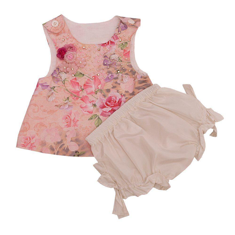 Conjunto bebê com bata e calcinha - Marfim e rosa