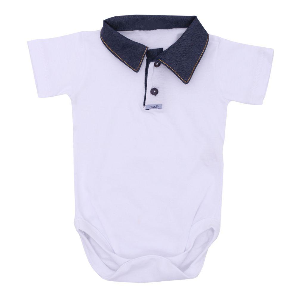 Conjunto bebê com body e short - Branco e jeans