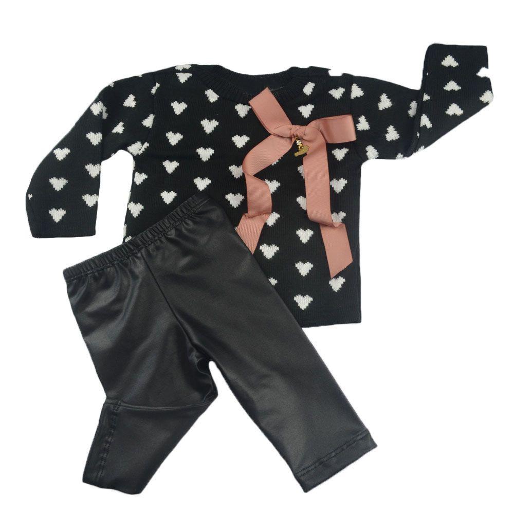 Conjunto bebê com blusa de linha e legging - Preto
