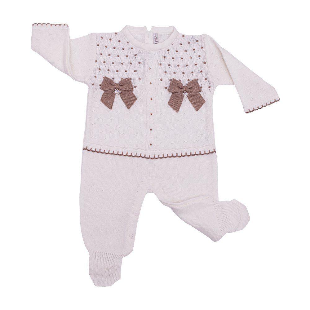 Saída de maternidade com macacão, body e manta - Branco e rolex